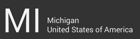 "The letters ""MI"" are large and on the left side. To the right, in a smaller font size, the word ""Michigan"" sits above the words ""United States of America"""
